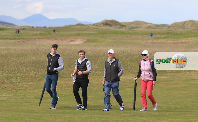 Gary Hurley (IRL) and Paul Dunne (IRL) with Tony Goode (Ireland team Captain) and Cora Harris on the 3rd fairway during Round 3 of the East of Ireland Amateur Open Championship at Co. Louth Golf Club in Baltray on Sunday 4th June 2017.<br />