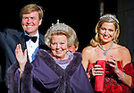 "QUEEN BEATRIX, CROWN PRINCE WILLEM-ALEXANDER AND CROWN PRINCESS MAXIMA.attend the gala farewell dinner for Queen Beatrix.at the Rijksmuseum in Amsterdam, The Netherlands_April 29, 2013..Crwon Prince Willem-Alexander and Crown Princess Maxima will be proclaimed King and Queen  of The Netherlands on the abdication of Queen Beatrix on 30th April 2013..Mandatory Credit Photos: ©Utrecht/NEWSPIX INTERNATIONAL..**ALL FEES PAYABLE TO: ""NEWSPIX INTERNATIONAL""**..PHOTO CREDIT MANDATORY!!: NEWSPIX INTERNATIONAL(Failure to credit will incur a surcharge of 100% of reproduction fees)..IMMEDIATE CONFIRMATION OF USAGE REQUIRED:.Newspix International, 31 Chinnery Hill, Bishop's Stortford, ENGLAND CM23 3PS.Tel:+441279 324672  ; Fax: +441279656877.Mobile:  0777568 1153.e-mail: info@newspixinternational.co.uk"