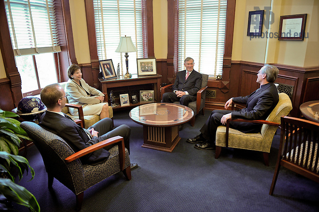 Sept. 28, 2011; Rev. John I. Jenkins, C.S.C. meets with Dr. Horst Koehler, former President of the Federal Republic of Germany and his wife Eva Louise...Photo by Matt Cashore/University of Notre Dame