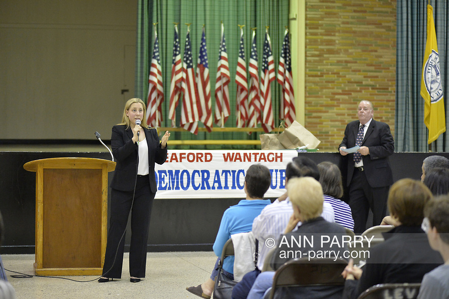 Levittown, NY, USA. June 4, 2018. Candidate Liuba Grechen Shirley speaks during Congressional District 2 Democratic primary debate with Suffolk County Legislator DuWayne Gregory held by Seaford Wantagh Democratic Club at Levittown Hall.