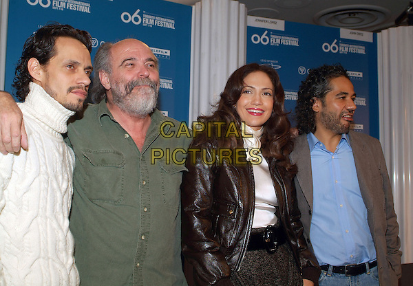 "MARC ANTHONY, LEON ICHASO, JENNIFER LOPEZ & JOHN ORTIZ.""El Cantante"" Press Conference during the 2006 Toronto International Film Festival held at Sutton Place Hotel, Toronto, Ontario, Canada..September 13th, 2006.Ref: ADM/BPC.half length white brown leather husband wife.www.capitalpictures.com.sales@capitalpictures.com.©Brent Perniac/AdMedia/Capital Pictures"