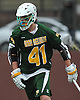 Andrew Lockhart #41 of Ward Melville reacts after scoring a goal to break a 7-7 tie in the fourth quarter of a non-league varsity boys lacrosse game against host Chaminade High School on Saturday, Apr. 2, 2016. Ward Melville held on to the lead from that point on and won by a score of 9-8.