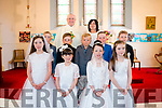 Scoil Réalt na Mara First Holy Communion class in Dawros church pictured with Father John Kearn and teacher Sheila McCarthy.