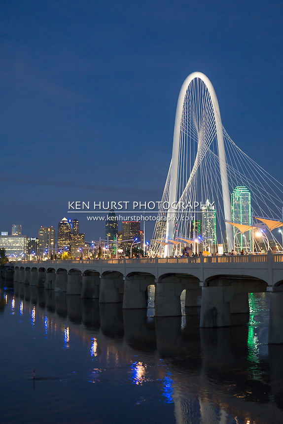 The Margaret Hunt Hill bridge, constructed in 2012 and designed by Santiago Calatrava, runs parallel to the older Continental Ave. bridge, now a pedestrian bridge, and leads into downtown Dallas, Texas.