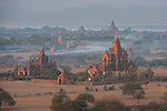 Aerial view of the Bagan area of myanmar from  Ballon ride