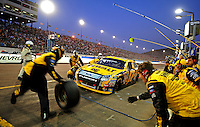 Nov. 9, 2008; Avondale, AZ, USA; NASCAR Sprint Cup Series driver Matt Kenseth pits during the Checker Auto Parts 500 at Phoenix International Raceway. Mandatory Credit: Mark J. Rebilas-