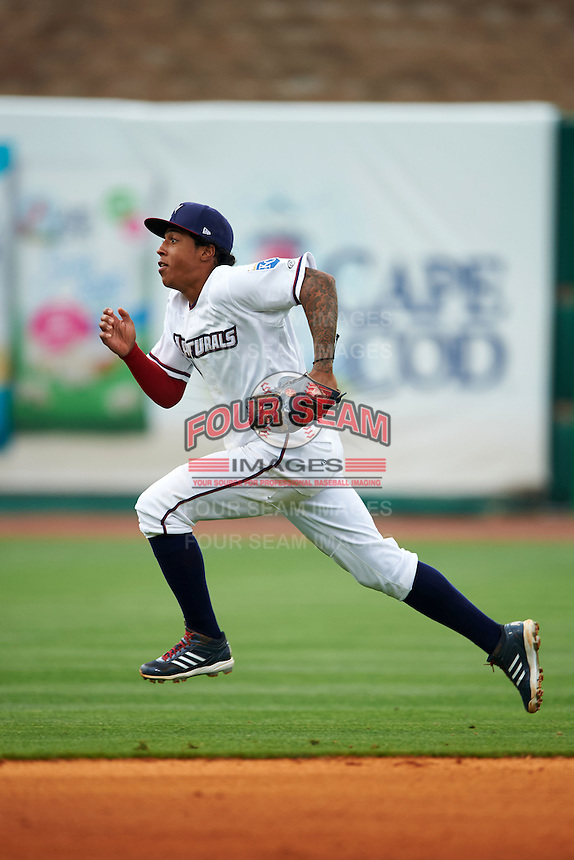NW Arkansas shortstop Raul Mondesi (2) tracks a pop up during a game against the San Antonio Missions on May 30, 2015 at Arvest Ballpark in Springdale, Arkansas.  San Antonio defeated NW Arkansas 5-1.  (Mike Janes/Four Seam Images)