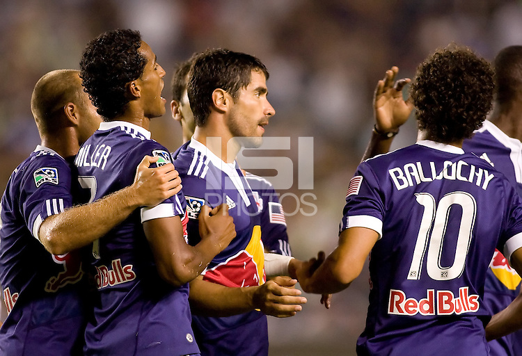 Juan Pablo Angel forward for the New York Red Bulls celebrates his PK goal with teammates. The New York Red Bulls beat the LA Galaxy 2-0 at Home Depot Center stadium in Carson, California on Friday September 24, 2010.