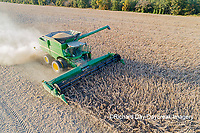 63801-13606 Harvesting soybeans in fall-aerial  Marion Co. IL