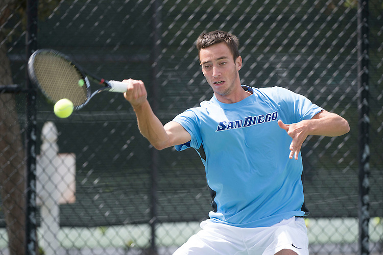 April 26, 2014; San Diego, CA, USA; San Diego Toreros player Romain Kalaydjian during the finals of the WCC Tennis Championships at Barnes Tennis Center.
