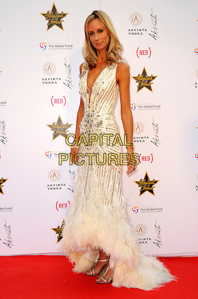 LADY VICTORIA HERVEY.The Akvinta Presents A Night of Hollywood Domino Party at The House at Cannes during the 62nd International Cannes Film Festival, Cannes, France..May 18th, 2009 .full length white gold silver sequins sequined dress fishtail feathers plunging neckline .CAP/CAS.©Bob Cass/Capital Pictures.