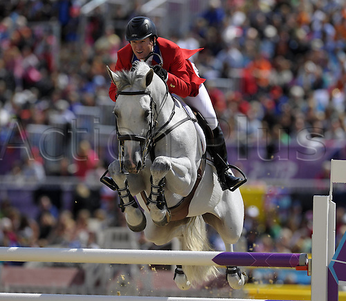 05.08.2012. Greenwich Park, London, England.  McLain Ward USA on Antares  London Olympic Games Summer Games Team equestrian jumping.