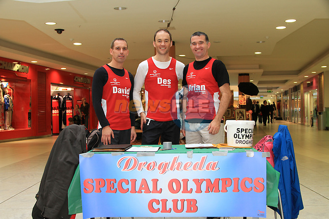 David Gough, Des Feeley and Brian Guilfoyle fundraise in the Laurence Shopping Centre for The Drogheda Special Olympics..Picture: Shane Maguire / www.newsfile.ie