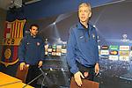 Camp Nou , UEFA Champions League, rueda de prensa previa al partido FC Barcelona - ARsenal FC. En la foto Arsene Wenger y Cesc Fabregas entran a la rueda de prensa