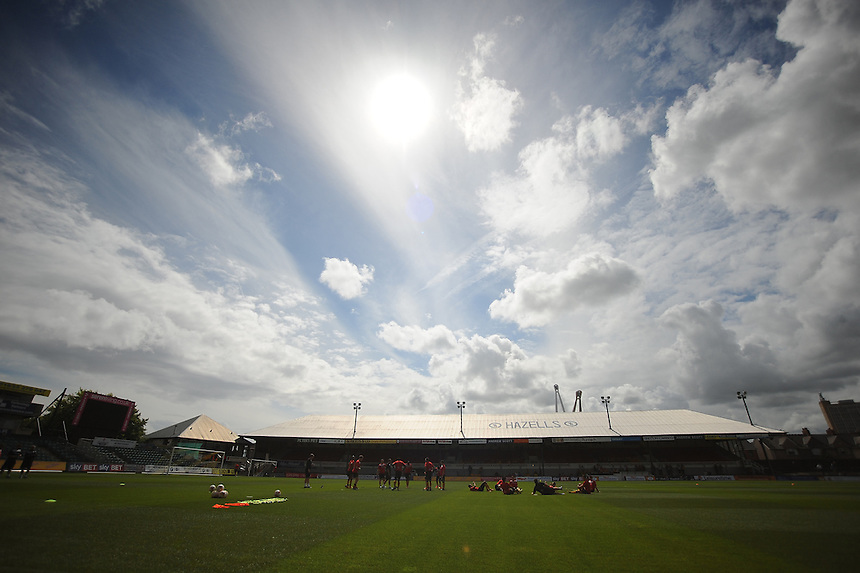 Newport County players during the pre-match warm-up <br /> <br /> Photographer Kevin Barnes/CameraSport<br /> <br /> Football - The Football League Sky Bet League Two - Newport County AFC v Wycombe Wanderers - Saturday 9th August 2014 - Rodney Parade - Newport<br /> <br /> &copy; CameraSport - 43 Linden Ave. Countesthorpe. Leicester. England. LE8 5PG - Tel: +44 (0) 116 277 4147 - admin@camerasport.com - www.camerasport.com