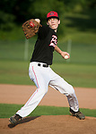 WATERTOWN,  CT-071018JS06-- Oakville's Ryan Dunfee (15) delivers a pitch during their Zone 5 American Legion game against Naugatuck Tuesday at the Taft School in Watertown. <br />  Jim Shannon Republican American