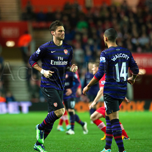 01.01.2013 Southampton, England.  Arsenal's Olivier Giroud comes on as a substitute in the second half replacing Lukas Podolski during the Premier League game between Southampton and Arsenal at St Mary's Stadium.