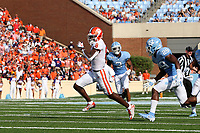 CHAPEL HILL, NC - SEPTEMBER 28: Justyn Ross #8 of Clemson University runs with the ball during a game between Clemson University and University of North Carolina at Kenan Memorial Stadium on September 28, 2019 in Chapel Hill, North Carolina.