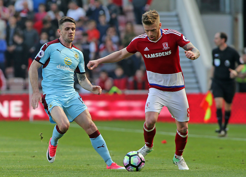 Burnley's Robbie Brady chases down Middlesbrough's Adam Clayton<br /> <br /> Photographer David Shipman/CameraSport<br /> <br /> The Premier League - Middlesbrough v Burnley - Saturday 8th April 2017 - Riverside Stadium - Middlesbrough<br /> <br /> World Copyright &copy; 2017 CameraSport. All rights reserved. 43 Linden Ave. Countesthorpe. Leicester. England. LE8 5PG - Tel: +44 (0) 116 277 4147 - admin@camerasport.com - www.camerasport.com