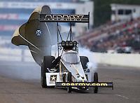 Aug 20, 2016; Brainerd, MN, USA; NHRA top fuel driver Tony Schumacher during qualifying for the Lucas Oil Nationals at Brainerd International Raceway. Mandatory Credit: Mark J. Rebilas-USA TODAY Sports