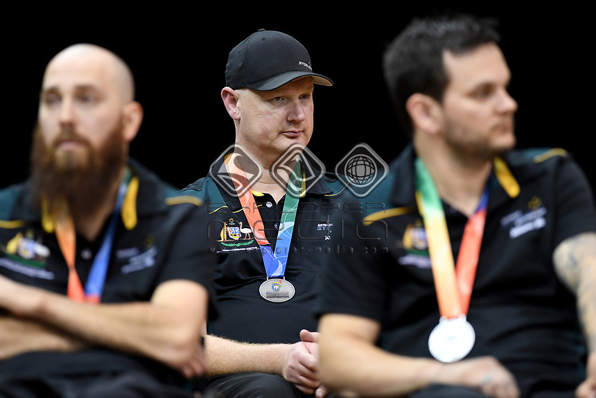 Head coach Brad Dubberley leads Australia in grand final against Japan / Aus 61 - Jpn 62<br /> Australian Wheelchair Rugby Team<br /> 2018 IWRF WheelChair Rugby <br /> World Championship / Finals<br /> Sydney  NSW Australia<br /> Friday 10th August 2018<br /> © Sport the library / Jeff Crow / APC