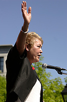 May 21, 2012 -  File Photo - Montreal, Quebec, CANADA -  Pauline Marois, Leader, Parti Quebecois (PQ) speak at Patriot's Day -