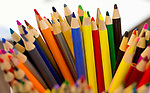 MIDDLEBURY , CT-011419JS05- Color pencils sit in a cup prion to the weekly Pencil Sketch class held every Monday at the Middlebury Public Library. Students from experienced to beginners are welcome to sketch of use watercolors.<br /> Jim Shannon Republican American