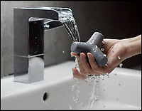 BNPS.co.uk (01202 558833)<br /> Pic: TetraSoap/BNPS<br /> <br /> Slippery problem finally solved - Non-slip soap.<br /> <br /> A company has invented a new non-slip soap to bring an end to the days of sliding around the shower for the dropped bar.<br /> <br /> Tetra Soap has been designed to be easy to hold and quick drying to bring an end to the slippery problem that has plagued mankind for 5,000 years.<br /> <br /> The clever cleanser was first thought up by Hong Kong-based company Furnitury four years ago and after a Kickstarter campaign in November last year it has now launched.<br /> <br /> They based the design on giant ten-tonne concrete structures known as tetrapods. These were created in France in 1950 as breakwater barriers to prevent erosion and water damage on the coast and are now used all over the world.