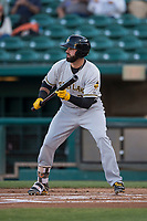 Salt Lake Bees right fielder Kaleb Cowart (22) shows bunt during a Pacific Coast League game against the Fresno Grizzlies at Chukchansi Park on May 14, 2018 in Fresno, California. Fresno defeated Salt Lake 4-3. (Zachary Lucy/Four Seam Images)