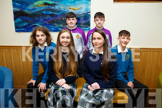 At the Transition Year St Brendan's Tenth annual Parish Day at Ballyroe Heights Hotel on Tuesday were front l-r Felix Walker, Mounthawk, Sarah Cleary, Presentation, Grace Myers, Presentation, DJ McCarthy, Mounthawk, Back l-r Dylan McCue and Dara Leen, CBS The Green
