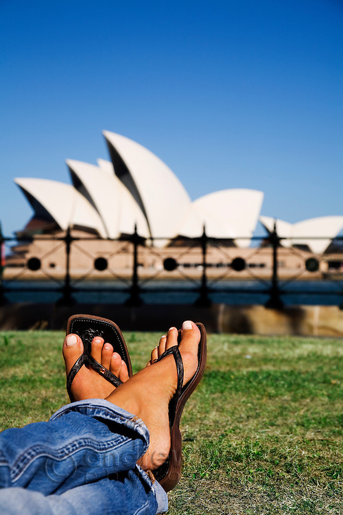 Relaxing with a view of the Sydney Opera House.  Sydney, New South Wales, AUSTRALIA.