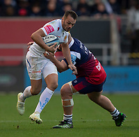 Exeter Chiefs' Phil Dollman evades the tackle of Bristol Bears' Yann Thomas<br /> <br /> Photographer Bob Bradford/CameraSport<br /> <br /> Gallagher Premiership Round 7 - Bristol Bears v Exeter Chiefs - Sunday 18th November 2018 - Ashton Gate - Bristol<br /> <br /> World Copyright © 2018 CameraSport. All rights reserved. 43 Linden Ave. Countesthorpe. Leicester. England. LE8 5PG - Tel: +44 (0) 116 277 4147 - admin@camerasport.com - www.camerasport.com