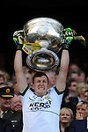 Brian kelly lifts the Sam Maguire Cup to celebrate  Kerry's victory over Donegal in the All-Ireland Football Final against  in Croke Park 2014.<br /> Photo: Don MacMonagle<br /> <br /> <br /> Photo: Don MacMonagle <br /> e: info@macmonagle.com