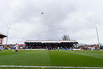 An aircraft above Edgeley Park en route to Manchester Airport. Stockport County v Barnet, 07032020. Edgeley Park, National League. Photo by Paul Thompson.
