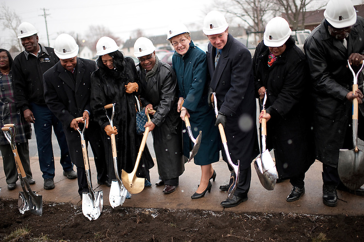UNITED STATES - FEBRUARY 10:  Rep. Marcy Kaptur, D-Ohio, center, participates a ground breaking ceremony for a new wing of the Ebenezer Baptist Church in Sandusky, Ohio.  Kaptur and Rep. Dennis Kucinich, D-Ohio, are running for the OH-09 seat after the state lost two seats due to reapportionment.  (Photo By Tom Williams/CQ Roll Call)