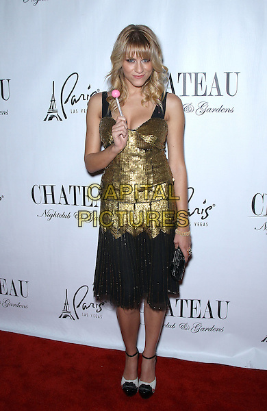 Brit Morgan.Brit Morgan celebrates her birthday at Chateau Nightclub inside Paris Las Vegas, Las Vegas, Nevada, USA..October 1st, 2011.full length gold dress sequins sequined black lace lollipop sleeveless.CAP/ADM/MJT.© MJT/AdMedia/Capital Pictures.