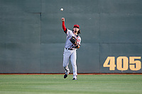 Richmond Flying Squirrels center fielder Ronnie Jebavy (1) throws from the outfield during a game against the Altoona Curve on May 15, 2018 at Peoples Natural Gas Field in Altoona, Pennsylvania.  Altoona defeated Richmond 5-1.  (Mike Janes/Four Seam Images)