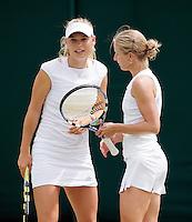 25-6-08, England, Wimbledon, Tennis, Caroline Wozniacki  and her dubbles partner Craybas
