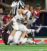 Hawgs Illustrated/Ben Goff<br /> Landis Durham, Texas A&M defensive end, sacks Ty Storey, Arkansas quarterback, in the 1st quarter Saturday, Sept. 29, 2018, during the Southwest Classic at AT&T Stadium in Arlington, Texas.