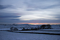 21/11/15<br /> <br /> The sun sets over a snowy landscape at Parsley Hay near Harrington in the Derbyshire Peak district.<br /> <br /> All Rights Reserved: F Stop Press Ltd. +44(0)1335 418365   www.fstoppress.com.