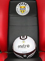 A match ball with club crest sitting on a dugout seat in the St Mirren v Dunfermline Athletic Clydesdale Bank Scottish Premier League U20 match played at St Mirren Park, Paisley on 2.10.12.