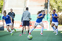 Seattle, WA - Sunday, May 1, 2016: FC Kansas City midfielder Heather O'Reilly (9) during warm-ups prior to National Women's Soccer League (NWSL) match at Memorial Stadium. Seattle won 1-0.
