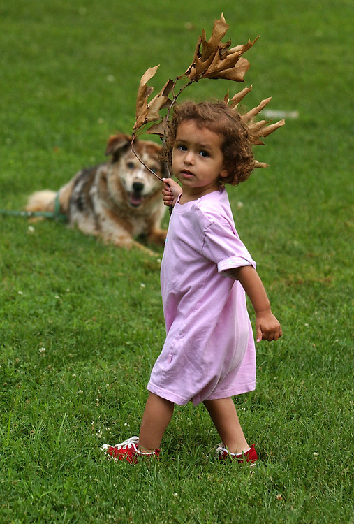 kid4/072803 - Mirriam Erraziqi, 18 months, plays in the Upper Senate Park, Tuesday, while her dog Sammy, looks on .