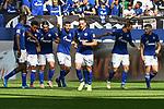31.08.2019, VELTINS-Arena, Gelsenkirchen, GER, DFL, 1. BL, FC Schalke 04 vs Hertha BSC, DFL regulations prohibit any use of photographs as image sequences and/or quasi-video<br /> <br /> im Bild die Mannschaft von Schalke Jubel / Freude / Emotion / Torjubel / Torschuetze zum 1:0 Daniel Caligiuri (#18, FC Schalke 04) <br /> <br /> Foto © nordphoto/Mauelshagen