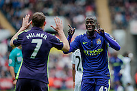 SWANSEA, WALES - MAY 17: Yaya Toure of Manchester City  Celebrates his goal during the Premier League match between Swansea City and Manchester City at The Liberty Stadium on May 17, 2015 in Swansea, Wales.  (Photo by Athena Pictures/Getty Images)