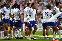 Anthony Perenise of Samoa looks on during a break in play. Rugby World Cup Pool B match between Samoa and the USA on September 20, 2015 at the Brighton Community Stadium in Brighton, England. Photo by: Patrick Khachfe / Onside Images