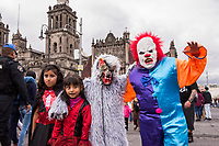 Mexico, Mexico City. Day of the Dead, Dia de los Muertos. Children with painted faces.
