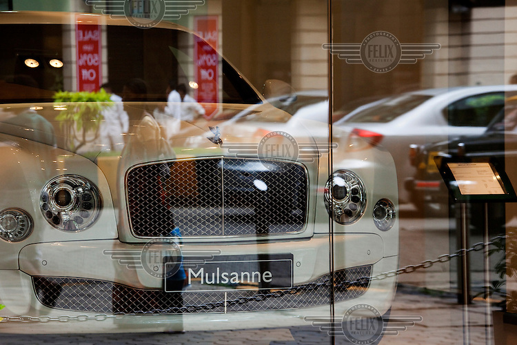 A Bentley luxury car for sale in a show room. India's booming economy and growing class of mega rich people is one of the few points for growth for luxury brands.