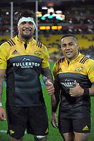 Vaea Fifita and Ngani Laumape after the Super Rugby match between the Hurricanes and Chiefs at Westpac Stadium in Wellington, New Zealand on Friday, 9 June 2017. Photo: Dave Lintott / lintottphoto.co.nz
