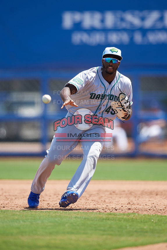 Daytona Tortugas first baseman Ibandel Isabel (49) fields a ground ball during a game against the Dunedin Blue Jays on April 22, 2018 at Dunedin Stadium in Dunedin, Florida.  Daytona defeated Dunedin 5-1.  (Mike Janes/Four Seam Images)